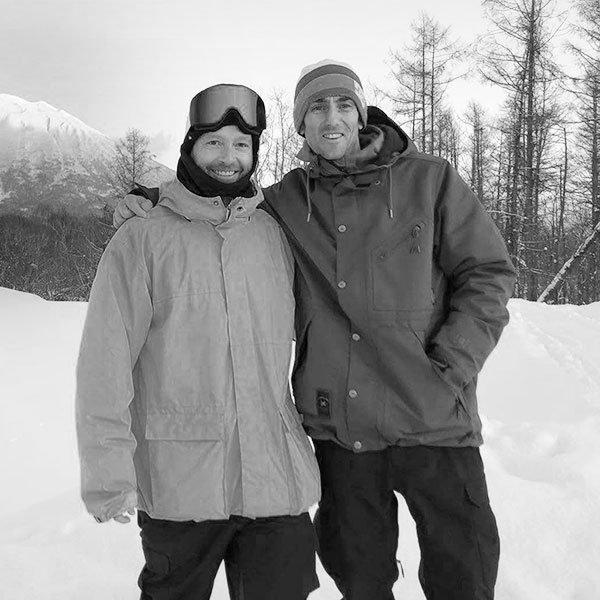snowboarding instructors Jono Stevens and Paul Coleman of Cab9 snowboarding